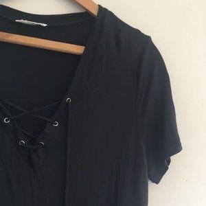 Lace front shirt dress black